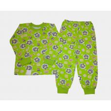 Пижама кулир рис. Машинки цв.зеленый р.32