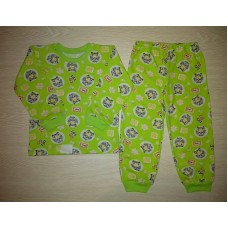 Пижама кулир рис. Машинки цв.зеленый р.24