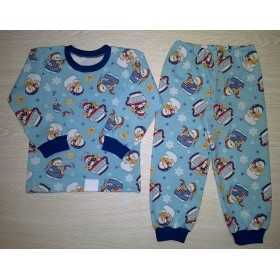 Пижама футер начес Зимняя сказка (Снеговик) цв.голубой р.34