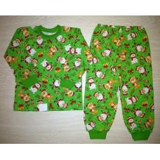 Пижама футер начес Зимняя сказка (Мороз) цв.зеленый р.34