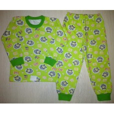 Пижама футер начес Racing цв.зеленый р.28
