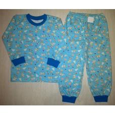 Пижама футер начес Little dog цв.голубой р.28; 30