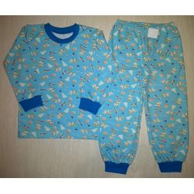 Пижама футер начес Little dog цв.голубой р.28