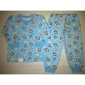 Пижама футер начес Racing  цв.голубой р.30; 32
