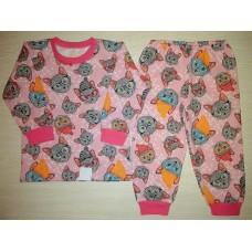 Пижама футер начес Cat розовый р.24