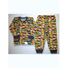 Пижама футер начес Машинки цв.камуфляж р.32