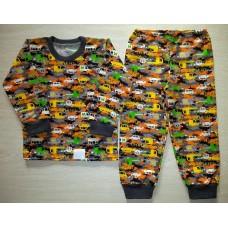 Пижама футер начес Машинки цв.камуфляж р.28
